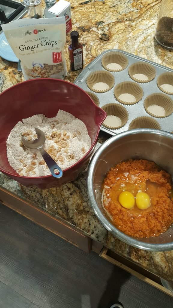 ingredients for pumpkin muffins with crystallized ginger